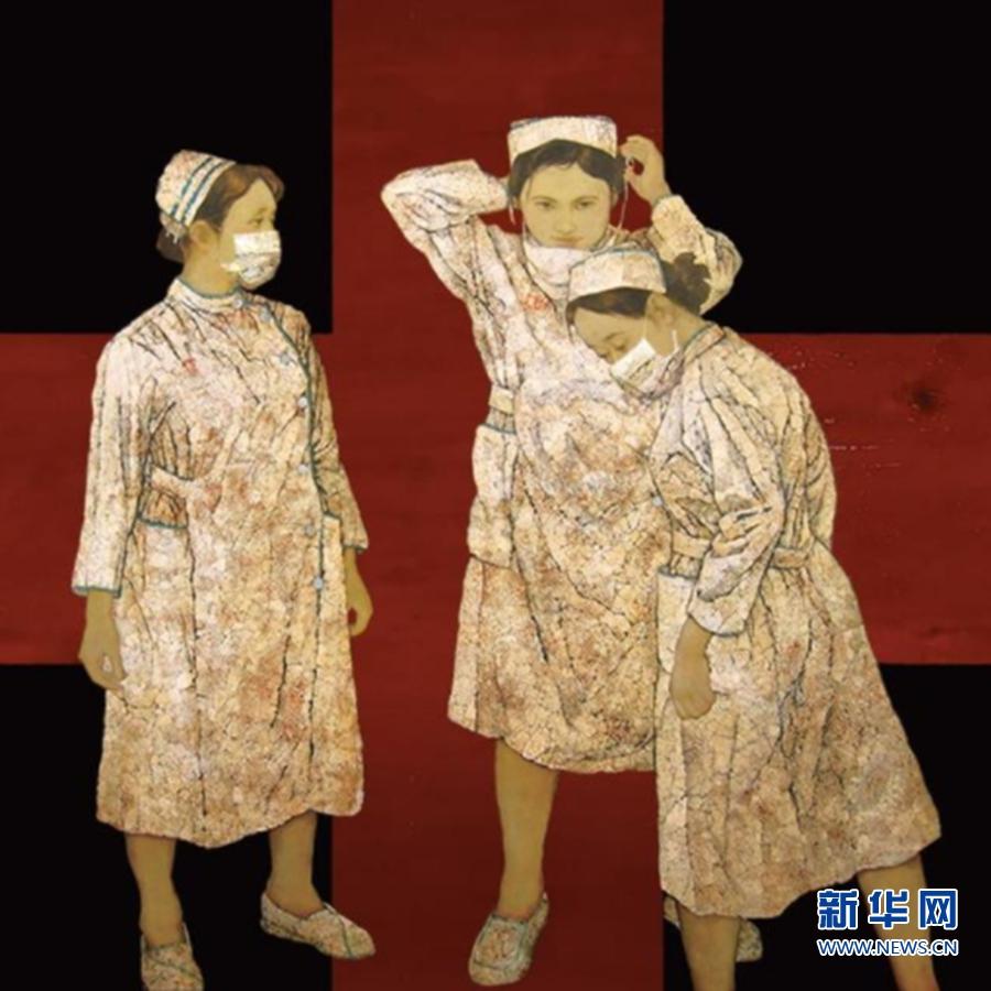 《白衣天使》漆画 作者:郑频 (福州市文联供图)