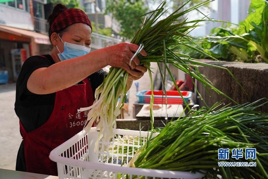 每天早上,林金莲都要去市场买葱,回来后捡葱、洗葱。新华网 蒋巧玲 摄