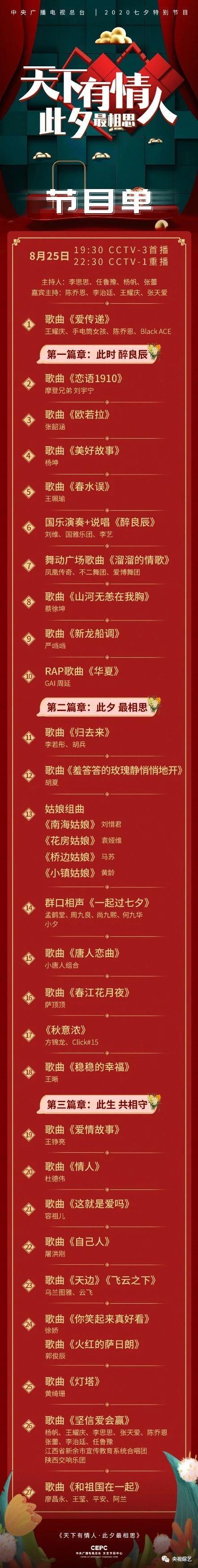 央视七夕晚会emoji节目单 2020年央视七夕晚会直播时间所在