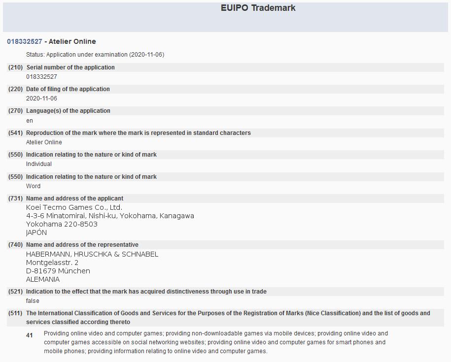 光荣特库摩、SE又注册商标 与旗下著名IP有关