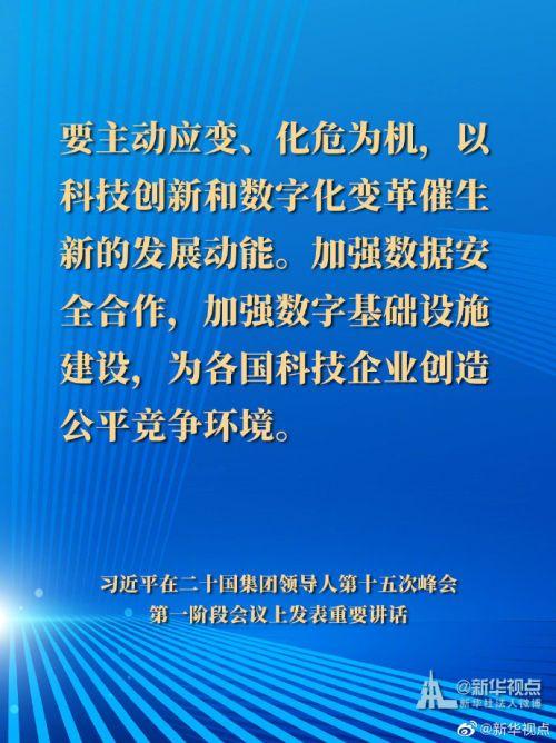 习近平在二十国集团领导人第十五次峰会第一阶段会议讲话要点