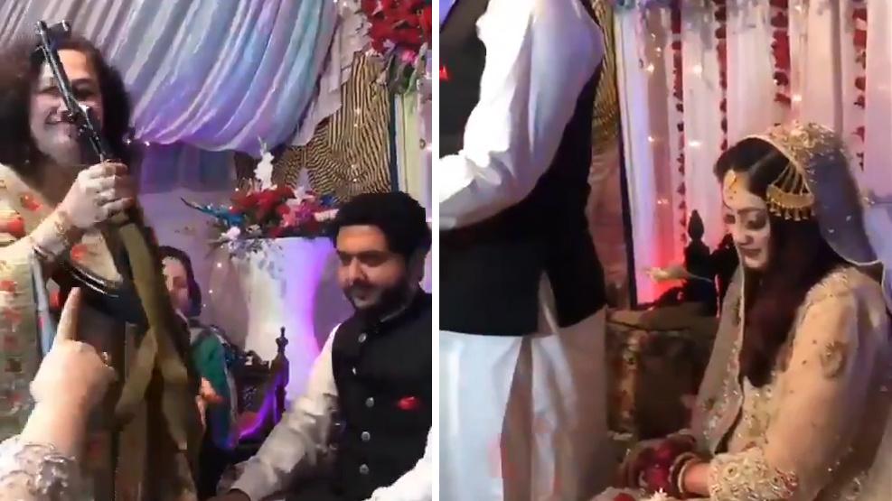 巴基斯坦一丈母娘送女婿AK47是什么情况?新娘看起来颇为尴尬