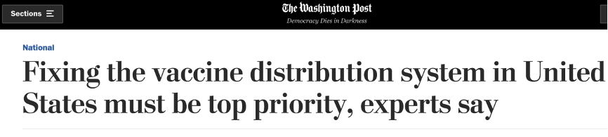 美国疫苗接种陷入混乱:效率低下 分配不公
