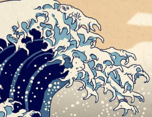 一幅画《神奈氚冲浪里》击中要害?日本外相要求赵立坚删帖