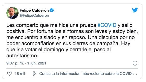 墨西哥前總統卡爾德隆稱其確診新冠肺炎