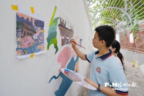 鼓楼庆城社区联手福州十九中打造古巷文化墙