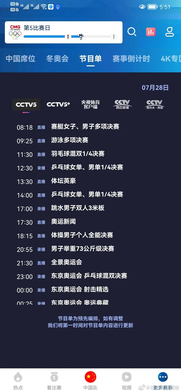 2021东京奥运会7月28日赛程时间表一览 东京奥运会今日赛程比赛时间介绍