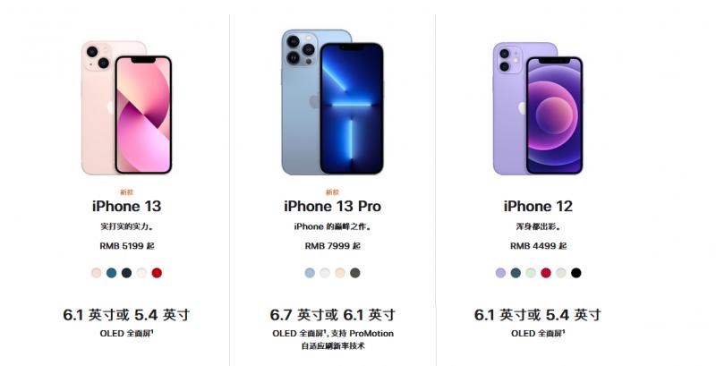 iphone13参数价格对比 苹果13/13pro/13promax详细配置对比区别